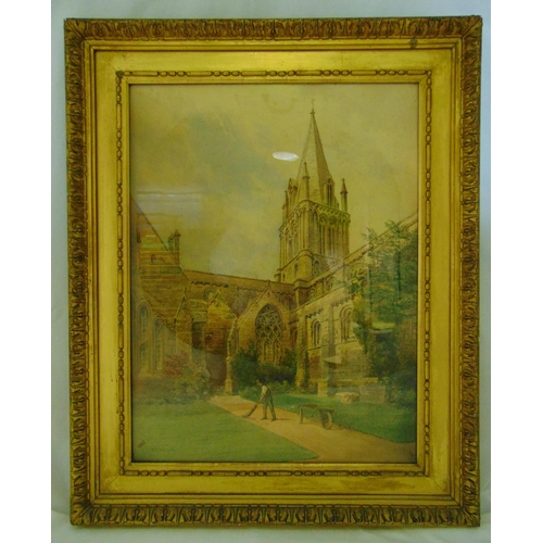 49 - F P Barraud framed and glazed watercolour of a church with cloisters, signed bottom left, 70 x 53cm