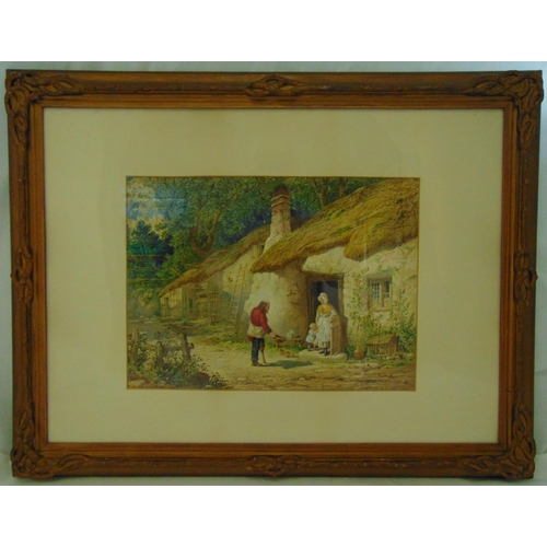 50 - Henry Hobson framed and glazed watercolour titled The Beggar, figures outside a country cottage, sig...