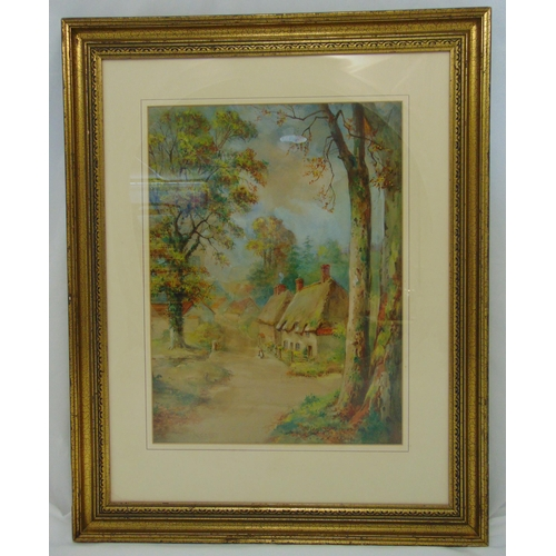 52 - Maude Angell framed and glazed watercolour of a country cottage, signed bottom right, 55 x41cm