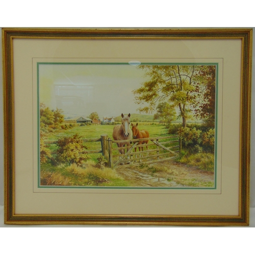 53 - Roy Lutner framed and glazed watercolour of a horse and foal by a gate, signed bottom right, 27.5 x ...