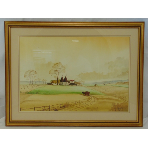55 - N. Whitehead framed and glazed watercolour of a farm and fields, signed bottom right, 45 x 66cm