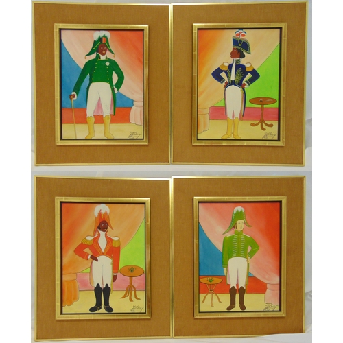 58 - Jacques-Richard Chery four framed oils on panel of military officers in the naive style, signed bott...