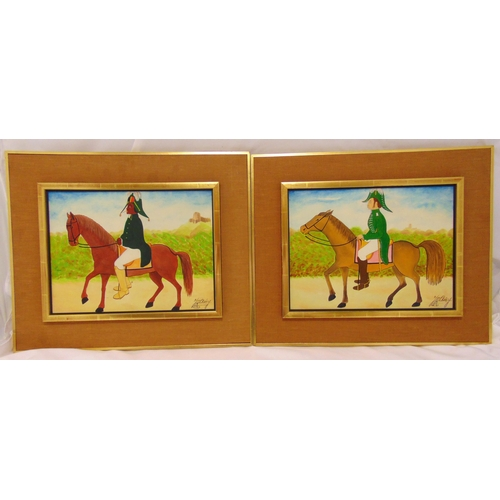 59 - Jacques-Richard Chery two framed oils on panel of military officers on horseback in the naive style,...