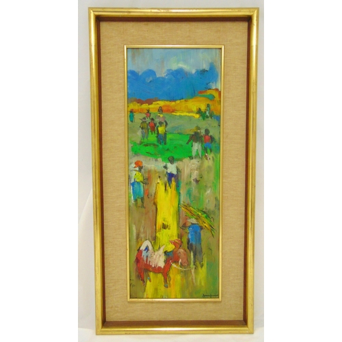 60 - Gesner Armand framed oil on panel of a country scene, signed bottom right, 80 x 29cm, ARR applies