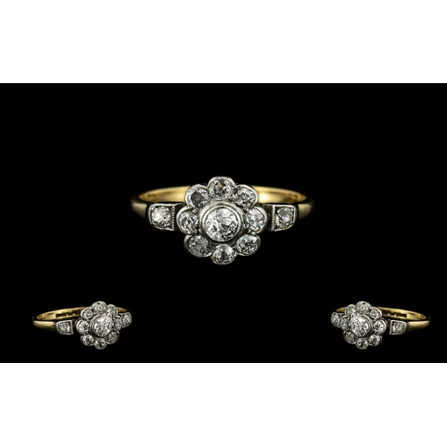 10 - 18ct Gold and Platinum Diamond Set Cluster Ring - Attractive Flower Head Design. c.1920. The Pave Se...