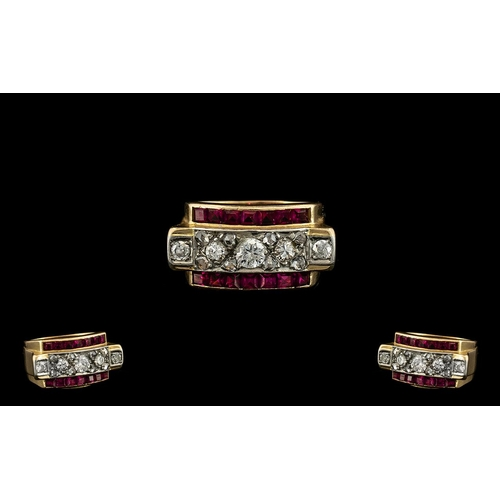 10A - Art Deco Period 18ct Gold Diamond and Ruby Set Dress Ring, Pleasing Design, The Rubies of Wonderful ...