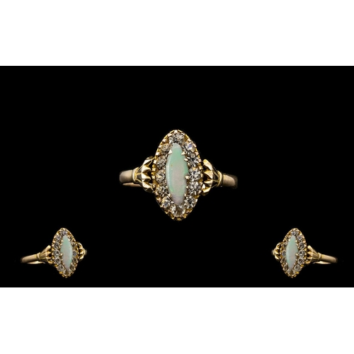 11 - An Edwardian Period Attractive 9ct Gold Opal and Diamond Set Dress Ring, Gallery Setting. Hallmark C...