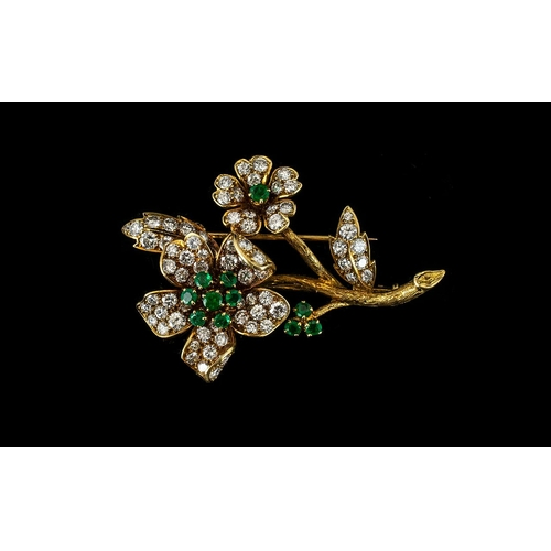 11A - Van Cleef and Arpels Stunning Emerald and Diamond Set Flower Spray Brooch, The Round Brilliant Cut D...