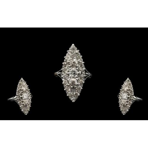 14 - Art Deco Period 18ct White Gold Stunning Boat Shaped Diamond Set Dress Ring, Diamonds of Great Colou...