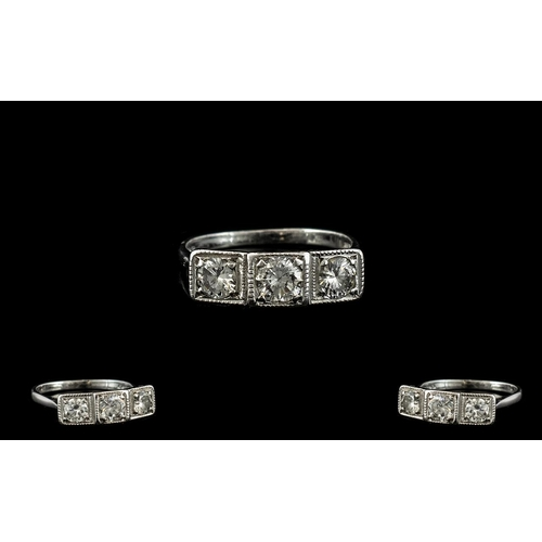 15A - 18ct White Gold Superb 3 Stone Diamond Dress Ring, The Round Brilliant Cut Diamonds of Top Colour wi...