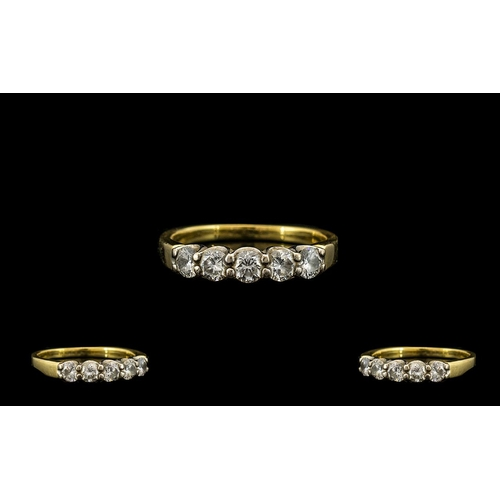 17 - 18ct Gold - Attractive 5 Stone Diamond Set Dress Ring, The Round Brilliant Cut Diamonds of Excellent...