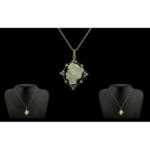 19 - Antique Period 19th Century Stunning Quality Platinum Set Diamond and Carved Opal Pendant with Attac...