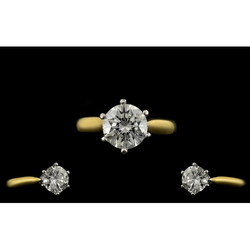 2 - 18ct Gold Single Stone Diamond Set Ring of Excellent Quality. The Round Modern Brilliant Cut Diamond...