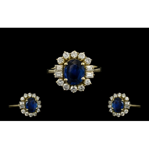20A - Ladies Superb Quality 18ct Gold - Attractive Sapphire and Diamond Cluster Ring. The Central Oval Sha...