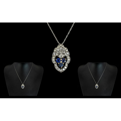 21 - 18ct White Gold Ladies - Nice Quality and Attractive Diamond and Sapphire Set Pendant, with Attached...