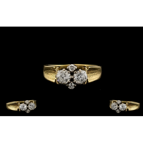 22 - 18ct Gold - Superb Quality and Attractive Diamond Set Dress Ring - Full Hallmark for Birmingham 1921...
