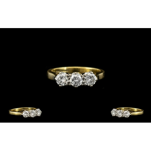 23 - 18ct Gold and Platinum Attractive and Quality 3 Stone Diamond Ring, The 3 Round Brilliant Cut Diamon...