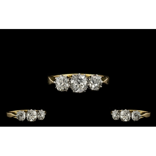 24 - Ladies 1930's Attractive 18ct Gold and Platinum 3 Stone Diamond Ring, Marked 18ct and Platinum. The ...