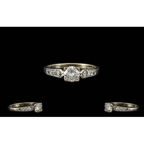 25 - 18ct White Gold Superb Quality Diamond Set Dress Ring. Marked 750 - 18ct. The Central Brilliant Cut ...