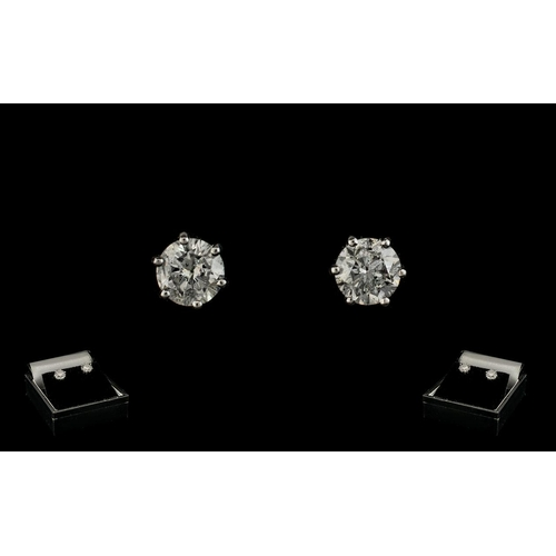 27 - Ladies Attractive - 18ct White Gold Pair of Diamond Set Earrings / Studs. Marked for 18ct Gold. Each...