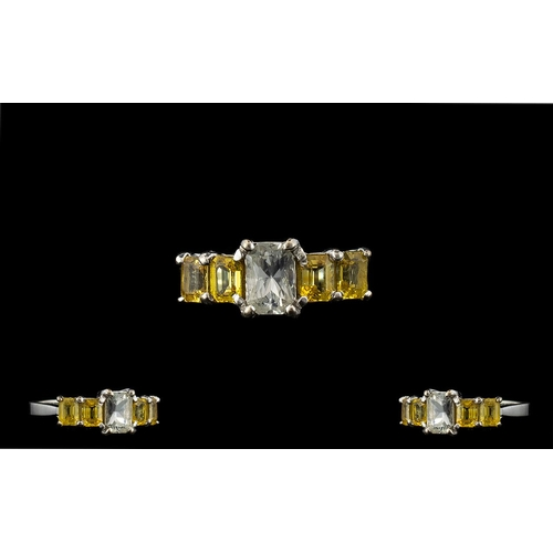 29 - 18ct White Gold - Attractive Yellow Stone Sapphire Set Dress Ring, The Four Natural Yellow Sapphires...