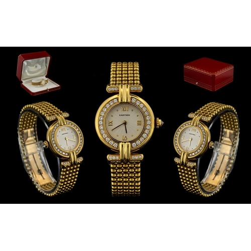 3 - Cartier - Rivoli 18ct Gold and Diamond Set Ladies Wrist Watch. Date 1997. Features a Gorgeous Diamon...