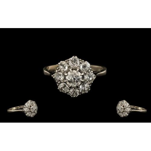 30 - Antique Period Superb 18ct White Gold Diamond Set Cluster Ring, Flower head Design. The Central Diam...