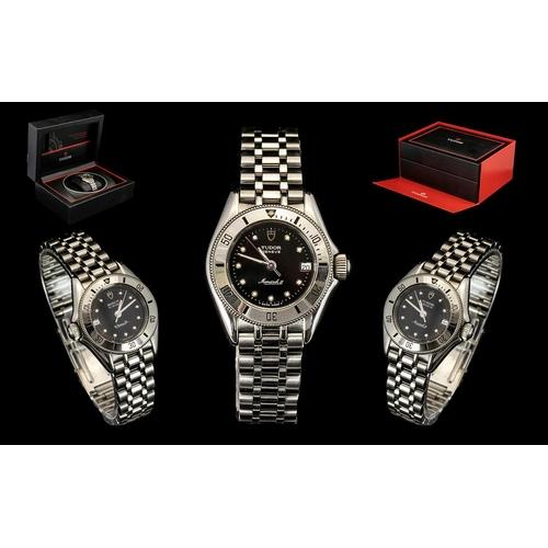 31 - Tudor Monarch II Ladies Silver Wrist Watch - model no. 15850, featuring a black dial, date just disp...