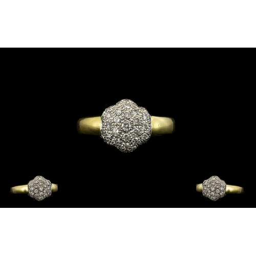 33 - 18ct Gold Diamond Set Cluster Ring - Flowerhead Design of Solid Construction. Full Hallmark for 18ct...