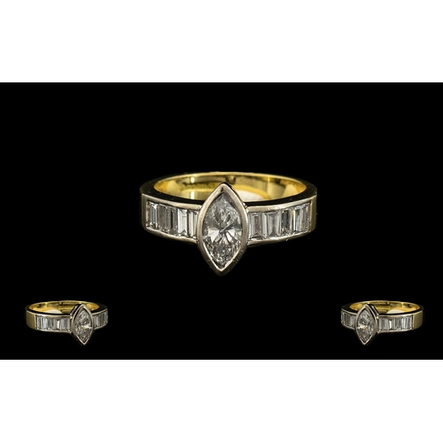 35 - A Stunning Quality 18ct Two Tone Gold Marquise Diamond and Baguette Cut Diamond Ring of Contemporary...