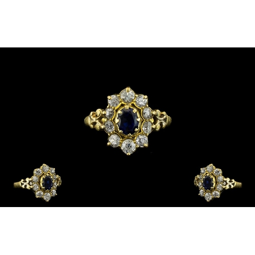 35A - 18ct Gold - Attractive Sapphire and Diamond Dress Ring In a Flowerhead Design and Setting of Pleasin...