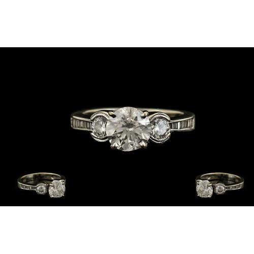 36 - Ladies 18ct White Gold Diamond Set Dress Ring, The Centre Round Brilliant Cut Diamond Measure 6.74 x...
