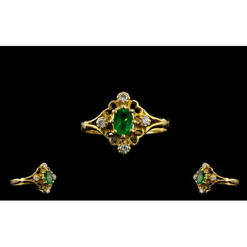 38 - 18ct Gold Petite and Attractive Emerald and Diamond Set Dress Ring, Set with a Natural Colombian Eme...