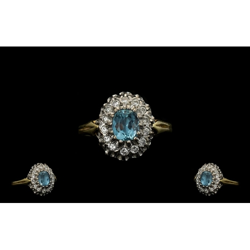4 - 18ct Gold - Aquamarine and Diamond Set Cluster Ring, Flower head Design. Excellent Gallery Setting. ...
