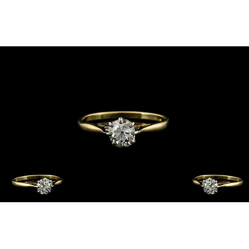 40A - Ladies - 18ct Gold Single Stone Diamond Ring, The Round Brilliant Cut Diamonds of Excellent Colour a...