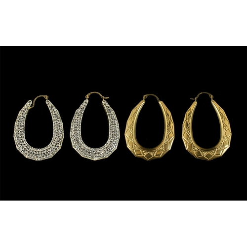 43 - Ladies - NIce Quality Two Sided Design Pair of Stone Set Hoop Earrings of Large Proportions. Marked ...