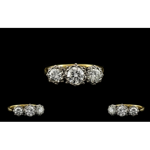 45 - 18ct Gold and Platinum 3 Stone Diamond Ring. c.1930's. The Three Old Brilliant Cut Diamonds of Good ...