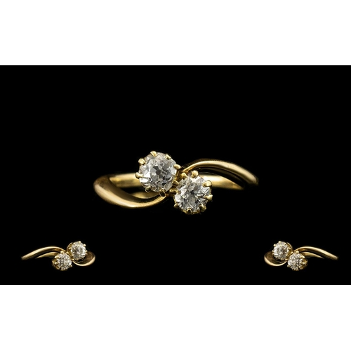 46 - Ladies - Nice Quality 1920's 18ct Gold Two Stone Diamond Set Ring. The Old Round Cut Diamonds of Sup...