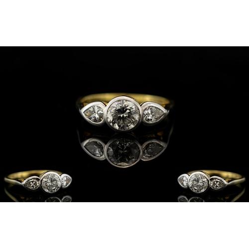 47 - 18ct Gold - Nice Quality 3 Stone Diamond Set Ring, Pleasing Pave Set Diamond Ring. The Central Diamo...