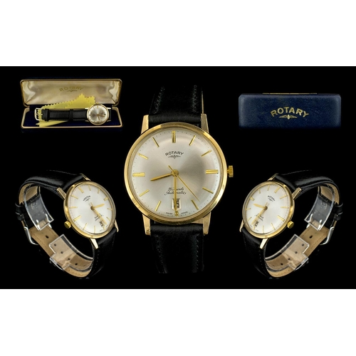 49 - Rotary - Gents Mechanical Automatic 21 Jewels 9ct Gold Case Gents Wrist Watch with Later Leather Str...