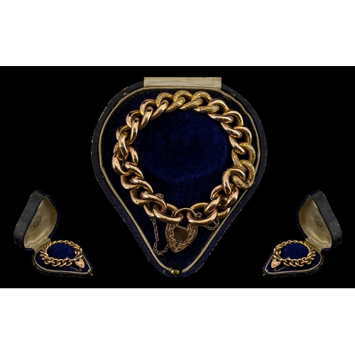 5 - Edwardian Period Superb Quality 9ct Gold Curb Bracelet with 9ct Gold Padlock and Safety Chain. All L...