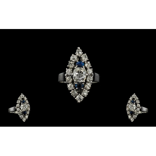 5A - 18ct White Gold - Attractive Sapphire and Diamond Set Dress Ring From the 1930's. The Diamonds of Ex...