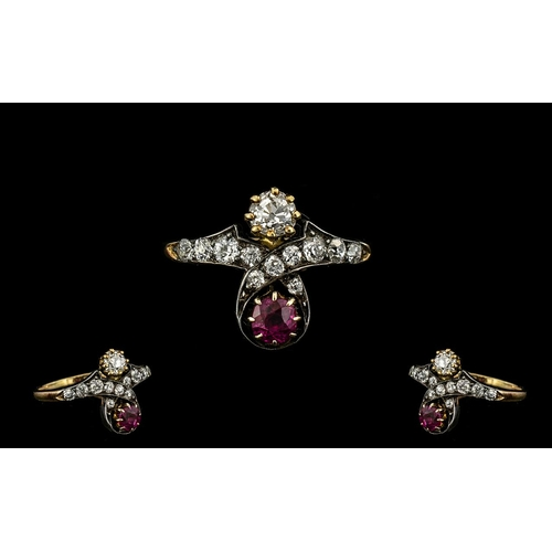 6 - Antique Period - Attractive 18ct Gold Ruby and Diamond Set Dress Ring. c.1860's. The Rubies of Pigeo...