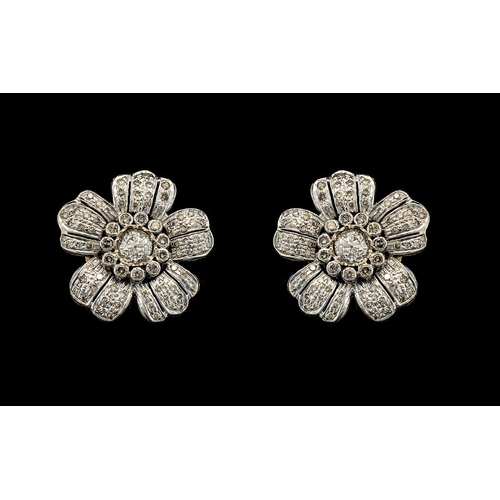 7 - An Antique Pair of Stunning 18ct White Gold Diamond Set Earrings of Large Proportions In a Flower he...