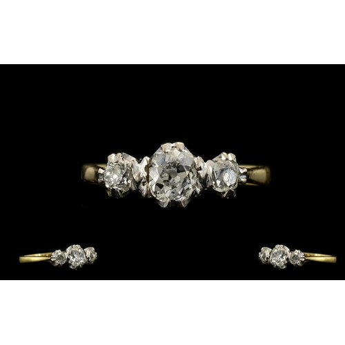 28 - Antique Period Excellent Quality 3 Stone Diamond Ring, Very Pleasing. The Centre Diamond of Est Colo...