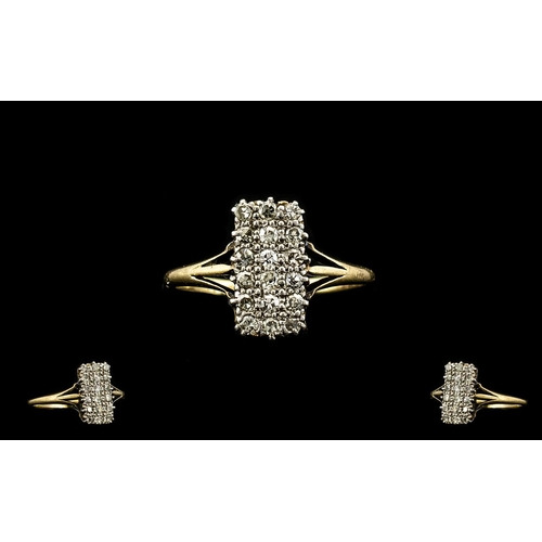 29 - Ladies Attractive 18ct Gold Diamond Set Dress Ring of rectangular form set with 18 small round cut d...