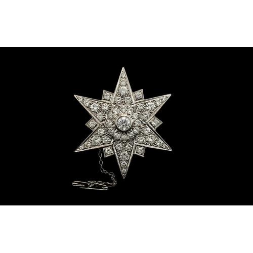 38 - Art Deco Period 1930's Superb Quality and Stunning 18ct Gold and Platinum Diamond Set Starburst Desi...