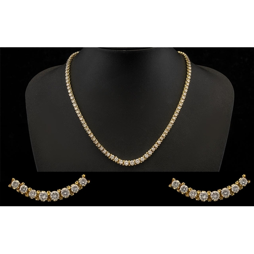 1 - 14ct Gold Superb Quality Stunning Graduated Diamond Set Necklace of Good Sparkle. The Diamonds of Ex...