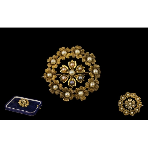 17 - Antique Period 15ct Gold Superb Quality Small Brooch set with Seed Pearls.  The workmanship is excel...