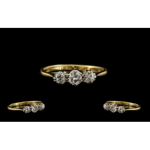 19 - 18ct Gold and Platinum Nice Quality 3 Stone Diamond Set Ring. c.1920's. The Diamonds of Good Sparkle...